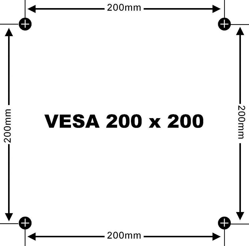 Naměřené hodnoty v milimetrech = VESA standart