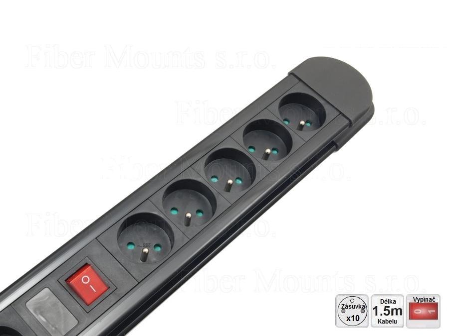 Přepěťová ochrana 10 zásuvka, 2x vypínač