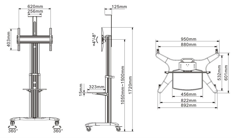 Tv stojan, tv stolík NB AVF1500-60-1P rozmery
