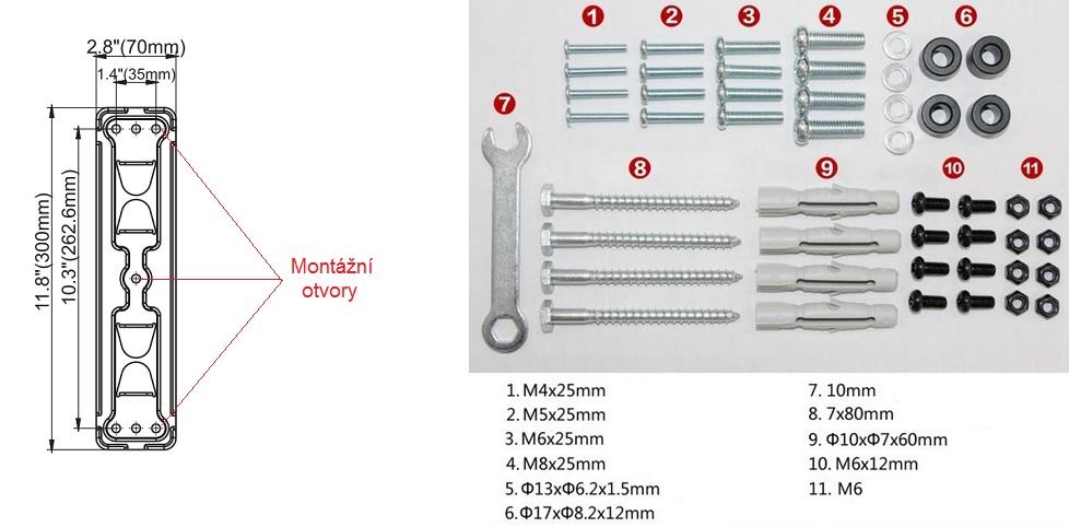 Uchycení držáku Fiber Mounts DF400 na zeď + montážní materiál, který naleznete v balení.