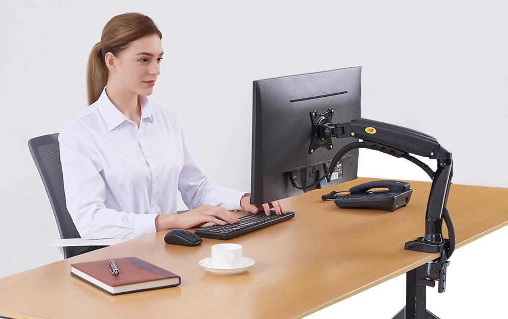 Stolní držák na monitor do školních učeben, kanceláří, provozoven, prodejen a konferenčních sálů - Fiber Mounts F80 / drzak-tv.cz