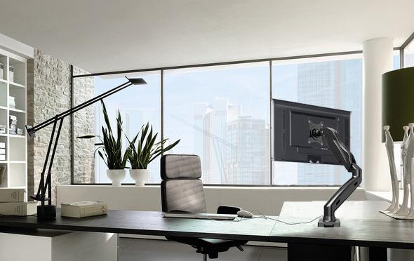 Stolný kancelársky držiak na PC monitory do 27 palcov, otočný, sklopný, výškové a dľžkové nastavenie, TOP kvalita a design - Fiber Mounts F80 / autorizovaný distribútor a predajce www.drziakyastoliky.eu