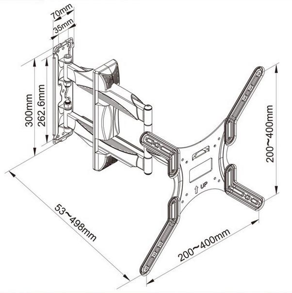 Televizní držák Fiber Mounts SP400-P4 nabízí širokou škálu nastavení polohy televizorů s úhlopříčkou 32-55 palců. Otočný, sklopný, délkové nastavení, korekce roviny, vedení kabeláže. Ideální držák pro zavěšení Tv na stěnu, do výklenku, na pilíř, sloupek nebo do rohu místnosti.