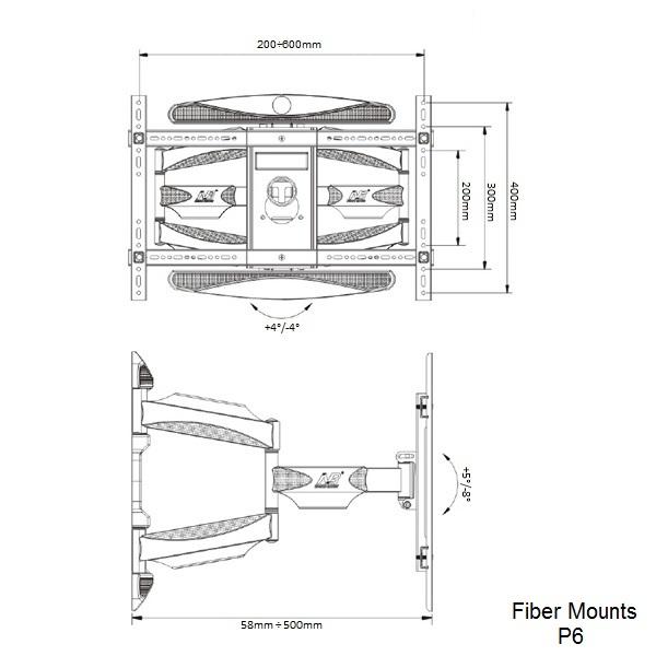 Držák na televizi Fiber Mounts P6 - podporované vesa standardy a rozměry minimálních a maximálních vzdáleností pro nasatavení