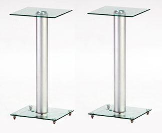 Stojany podstavce na repro Fiber Novelty FN88S (Luxusní stojany podstavce na repro se stříbrným nosníkem a čirým sklem, výška 88cm)