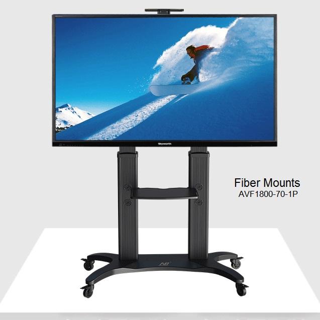 """Profesionální televizní stojan Fiber Mounts AVF1800-70-1P (Televizní stojan nejvyšší kvality, precizní zpracování, snadné nastavení, nádherný luxusní design v černém provedení, ideální na Tv a monitory 42-80"""", nastavitelná výška, police na příslušens"""