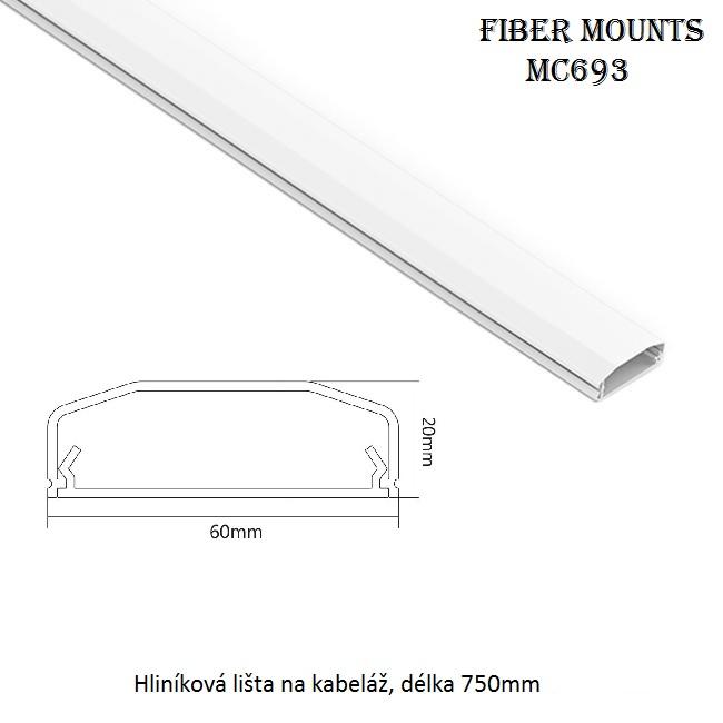 Krycí lišta na kabeláž Fiber Mounts MC693 bílá