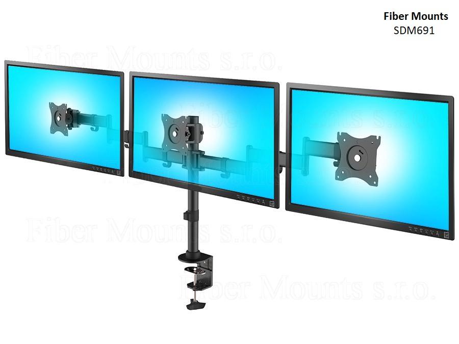 """Fiber Mounts SDM691 - stolní držák na 3 monitory (Kvalitní stolní držák pro zavěšení 3 monitorů 13-27"""" vedle sebe, plně nastavitelný, bezpečný a pevný, 2 typy uchycení na stůl)"""