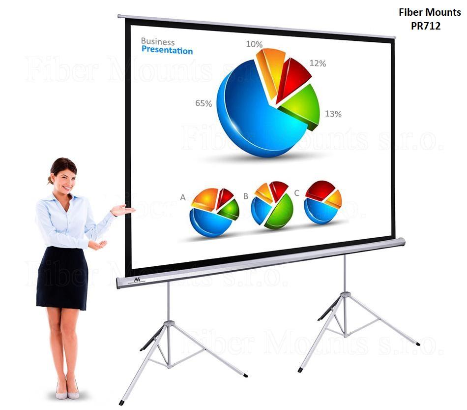 """Fiber Mounts PR712 - projekční plátno se stativem (Kvalitní projekční plátno 300x225cm, 150"""" se dvěma stativy)"""