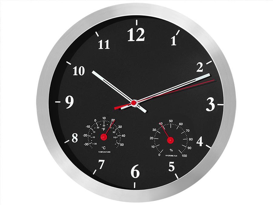 Netikající, tiché nástěnné hodiny 35cm s teploměrem a vlhkoměrem, krásný dizajn Fiber Mounts C4B
