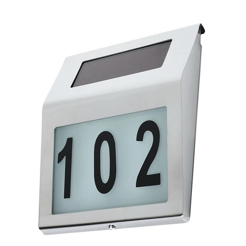 Solární domovní číslo - podsvícené číslo popisné na dům, solární nabíjení, nerez - Fiber Mounts MCE172