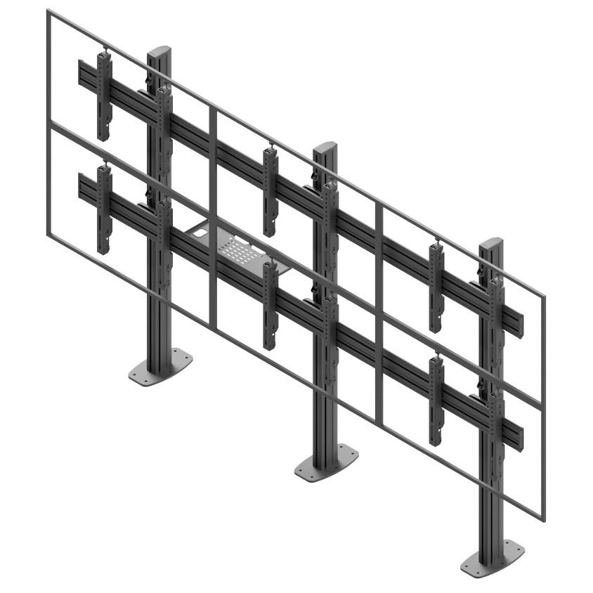 Profesionální fixní televizní stěna na 6 televizorů nebo monitorů, řazení 2 řady po 3 obrazovkách o velikosti 50-60 palců - Edbak VWSA3257L