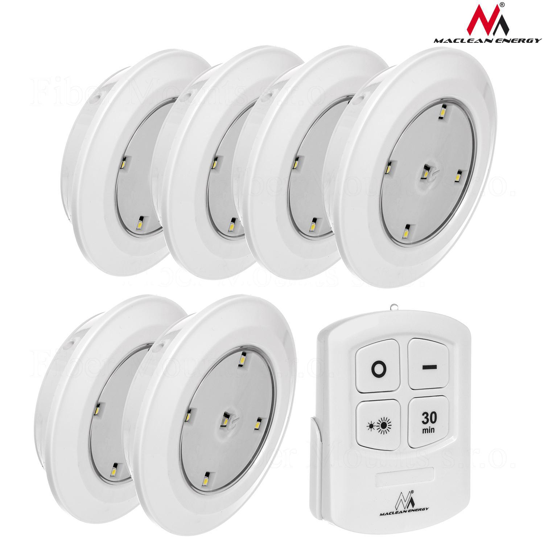 Sada 6 LED světel o průměru 90mm, 5 LED diod, napájení 3ks AAA baterií, dálkové ovládání - Maclean Energy MCE165 / drzakyastolky.cz