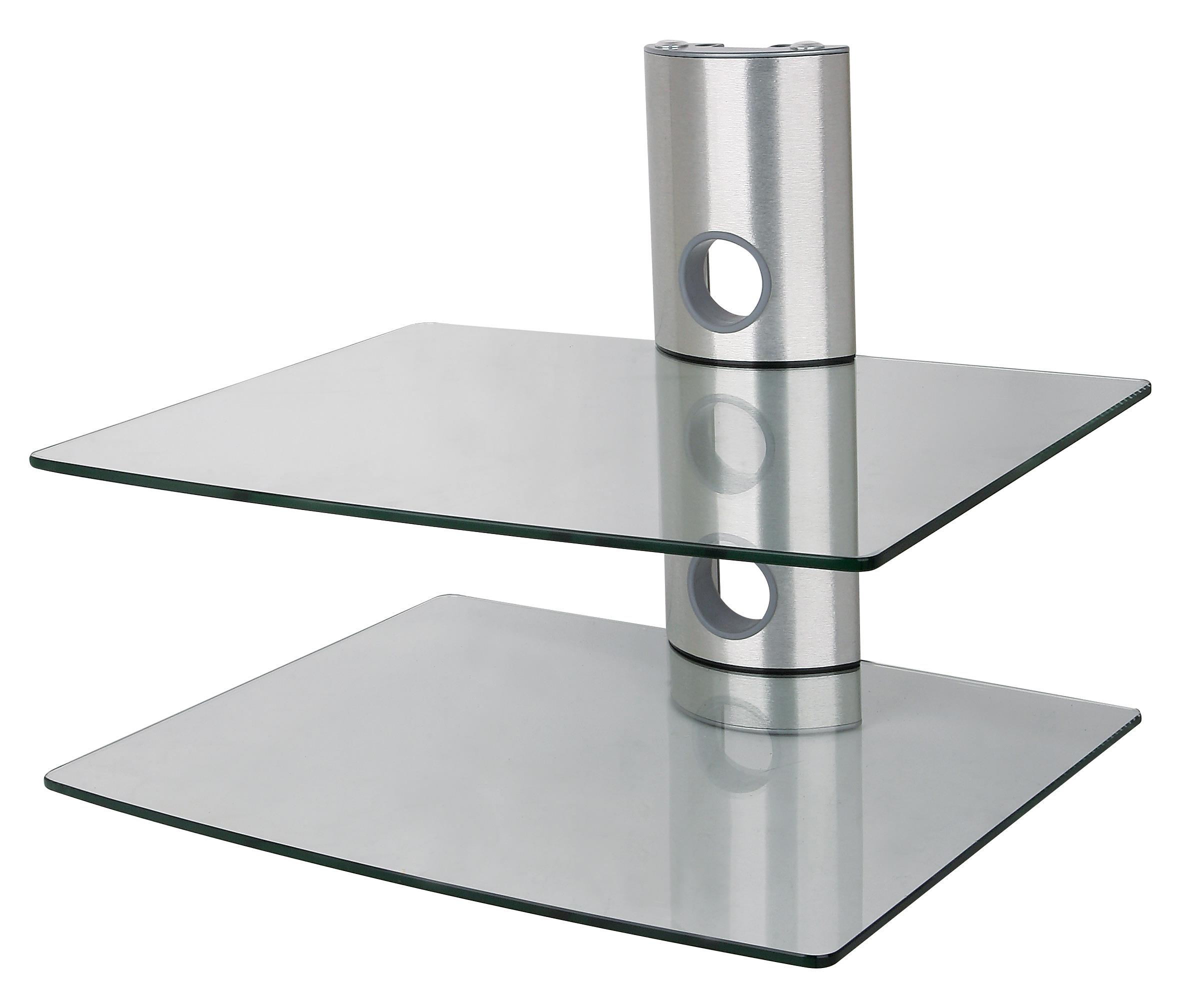 Luxusní nástěnná police čiré sklo, leštěnný hliník, 2 police, nosnost 20kg - ErgoSolid Ardea 2C
