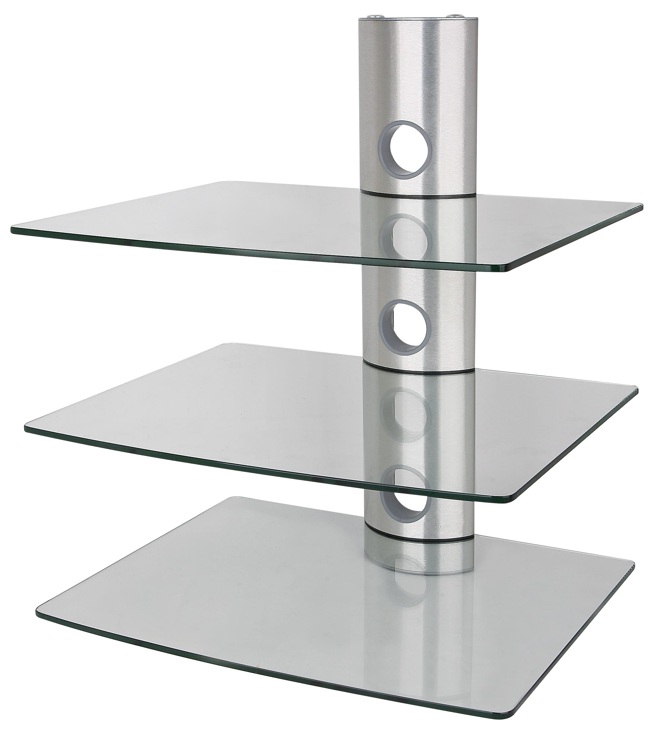 Luxusní nástěnná police čiré sklo, leštěnný hliník, 3 police, nosnost 30kg - ErgoSolid Ardea 3C