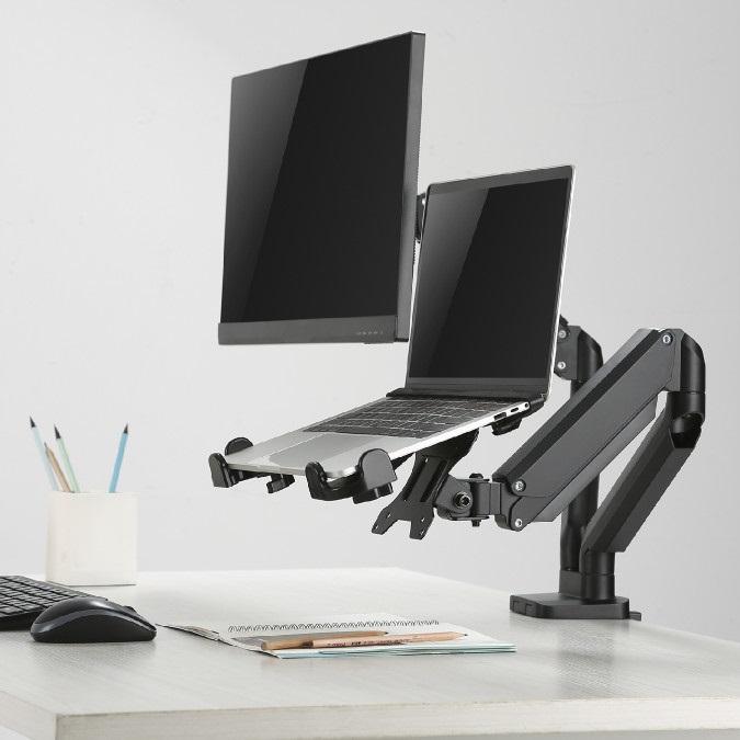 Stolní držák na monitor a notebook nebo laptop Fiber Mounts 836F160 je plně polohovatelný