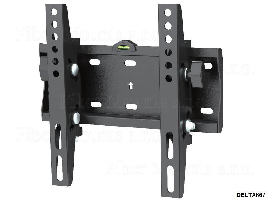 Tv držák sklopný, odsazení 53mm, náklon +12° až -12°, VESA standard 75x75 až 200x200, nosnost 30kg - Fiber Mounts DELTA667