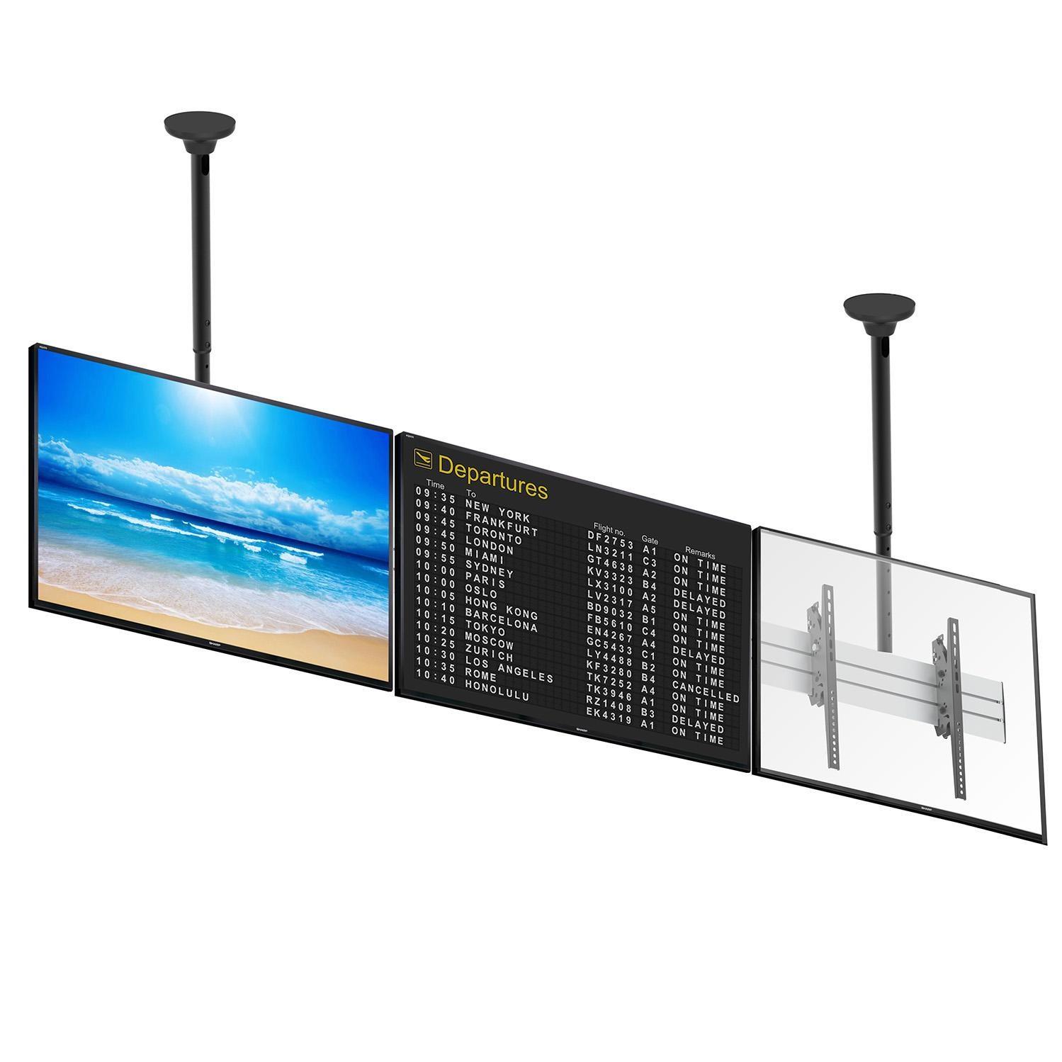 Stropní televizní stěna, zavěšení 3 televizí nebo monitorů s úhlopříčkou 40-52 palců vedle sebe v řadě, nastavení výšky a náklonu - Fiber Mounts M7C32