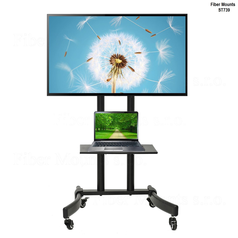 Vozík na televizory, nastavitelná výška obrazovky, polička na notebook, stabilní podstava - Fiber Mounts ST739