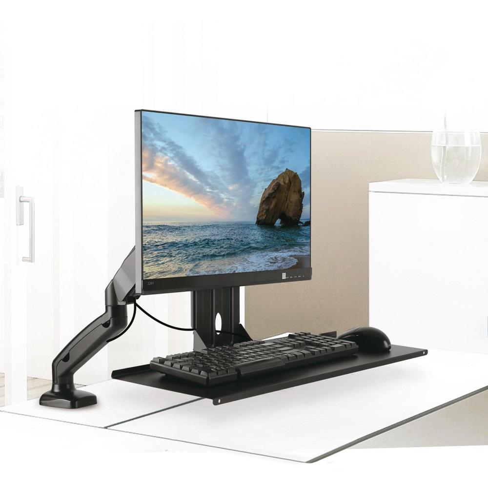 Přídavná polička na klávesnici a myš, ideální pro použití na stolní držáky monitorů nebo nástěnné držáky na Tv s úhlopříčkou do 27 palců, uchycení na VESA standard 75x75 a 100x100, nosnost 2kg, rozměry 650x211mm - Maclean MC756 / drzakyastolky.cz