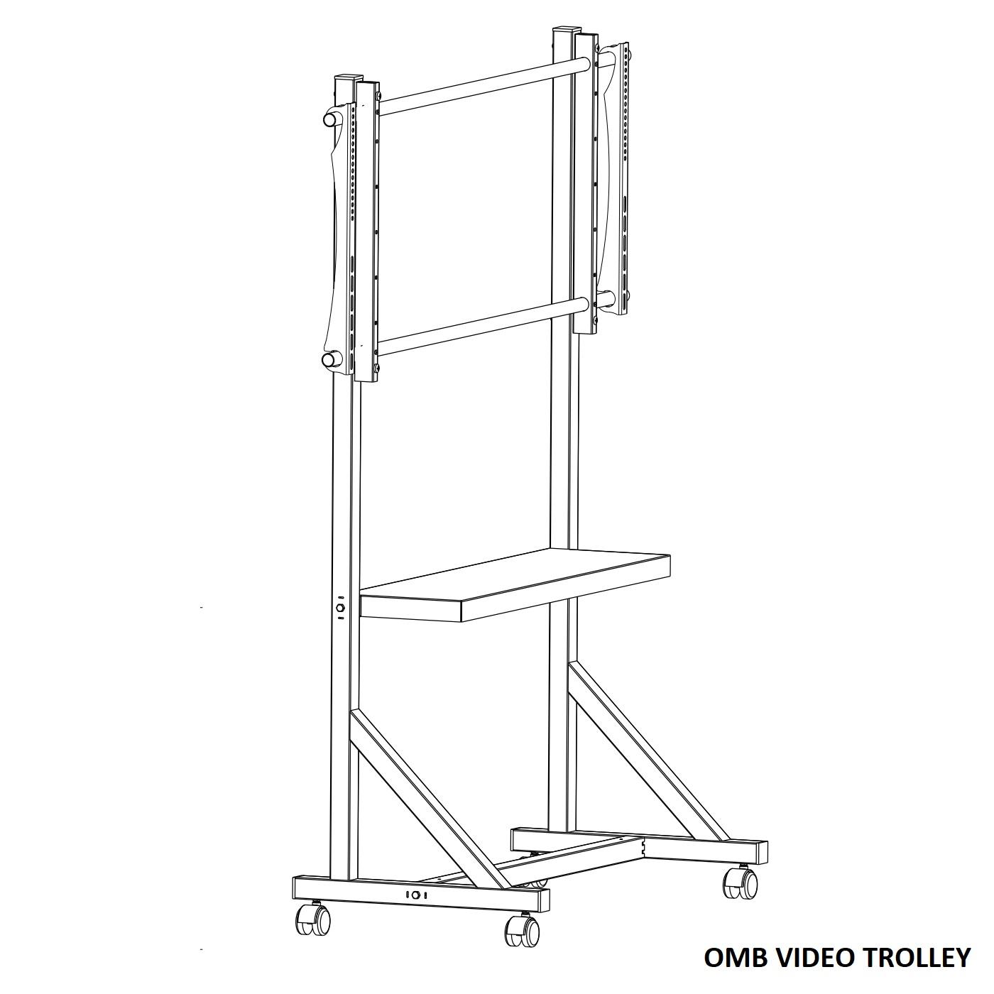 Profesionální mobilní vozík - stojan na televize, monitory a dotykové displeje - VESA standard, nastavení výšky max. 194cm, polička, pojezd s brzdou. Stabilita, bezpečnost, profesionální pevná a odolná konstrukce. OMB Video Troley / drzakyastolky.cz