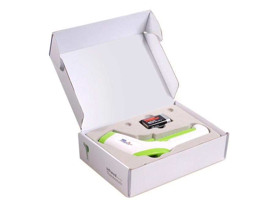 Spolehlivý bezdotykový teploměr na měření tělesné nebo povrchové teploty, měření 1s ze vzdálenosti 5-8cm, kvalitní podsvícený čitelný LCD displej - Promedix PR600