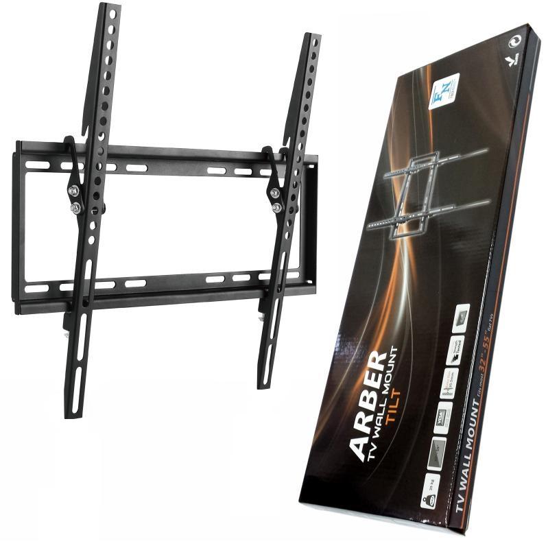 Levný kvalitní nástěnný držák pro zavěšení Tv 24-55 palců, ocelová konstrukce, odsazení od zdi 21mm, možnost náklonu až 8 stupňů, VESA standard, zajištění proti vysazení Tv systémem západek, nosnost 35kg - Fiber Novelty ARBER