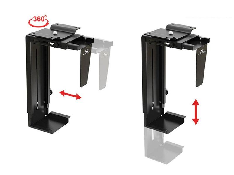 Držák na PC, uchycení pod desku stolu, na bočnici stolu, na stěnu nebo i na strop, bezpečný, pevný, spolehlivý, materiál ocel - Fiber Mounts PC713B