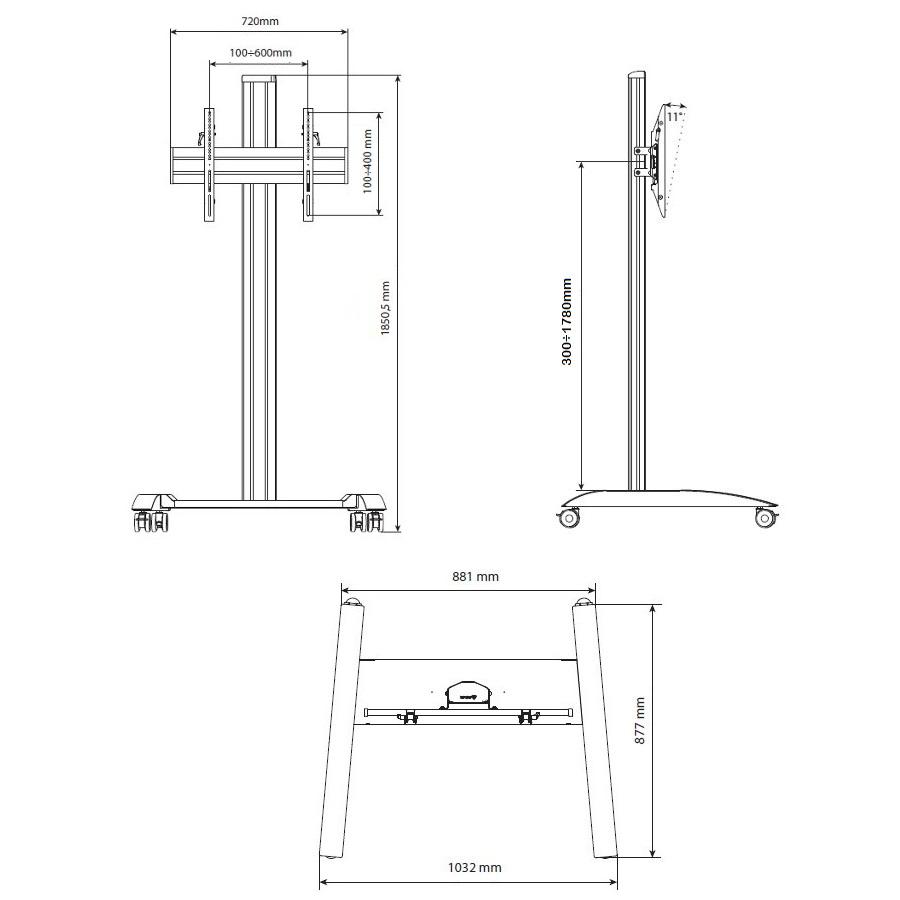 Designový profesionální stojan na televize a monitory EDBAK TRV100