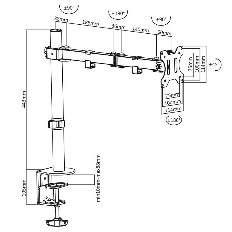 Výškově nastavitelný, otočný a sklopný držák na monitor 13-32
