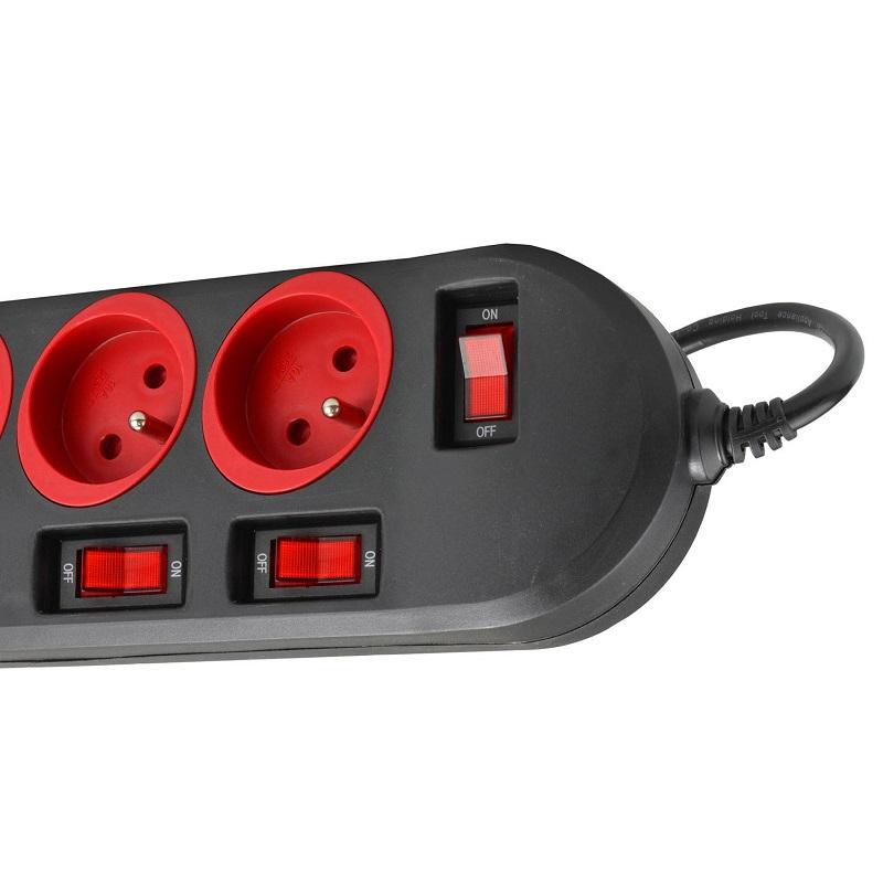 Prodlužka s pěti zásuvkami, každá zásuvka má vlastní vypínač, jeden hlavní vypínač, světelná signalizace zapnutí zásuvky, dětská pojistka, délka 150 cm - Fiber Mounts AX204