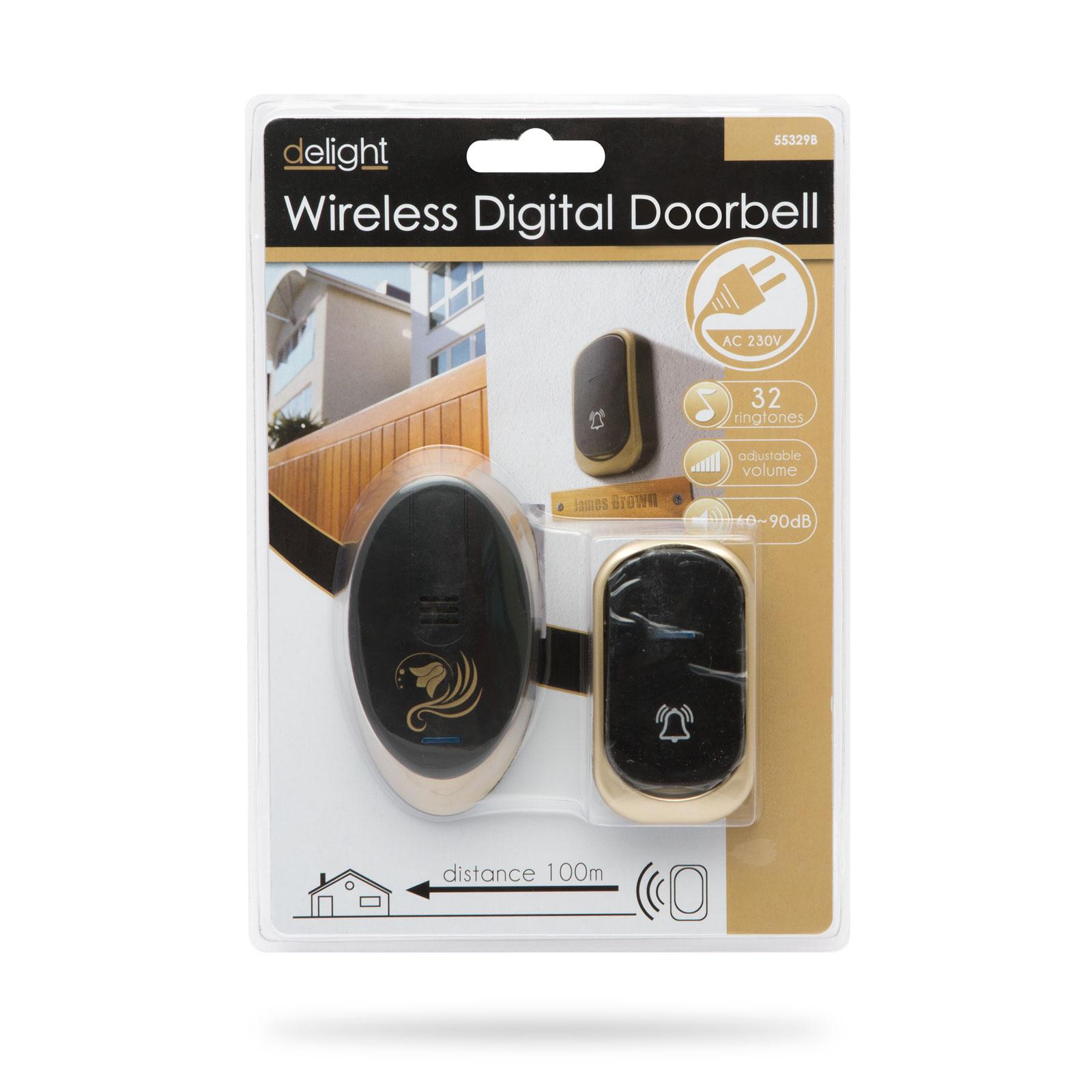 Delight Doorbell55329B je designový bezdrátový domovní zvonek s dosahem až 100m, 32 melodií, nastavení hlasitosti