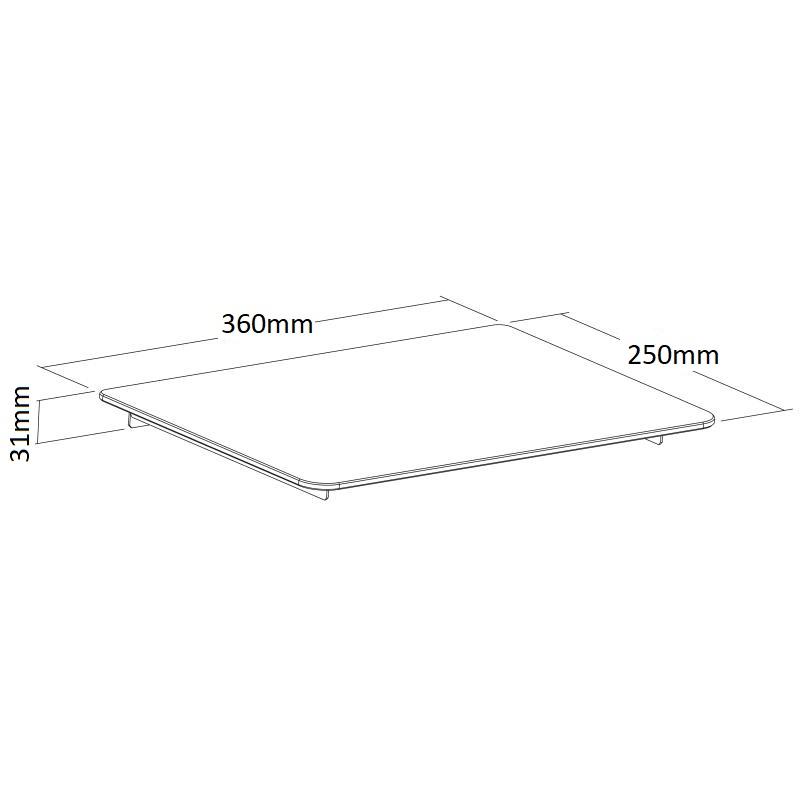 Skleněná polička na zeď, nosnost 8kg - Ergosolid FND360