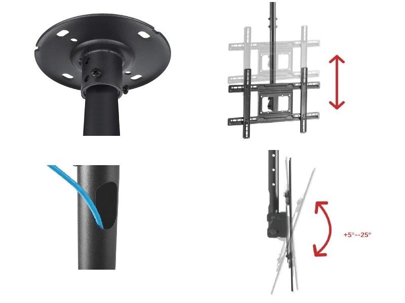 Stropní držák na televize s nastavením délky, náklonu obrazovky, vedením kabeláže a korekcí roviny - Fiber Mounts M8C3