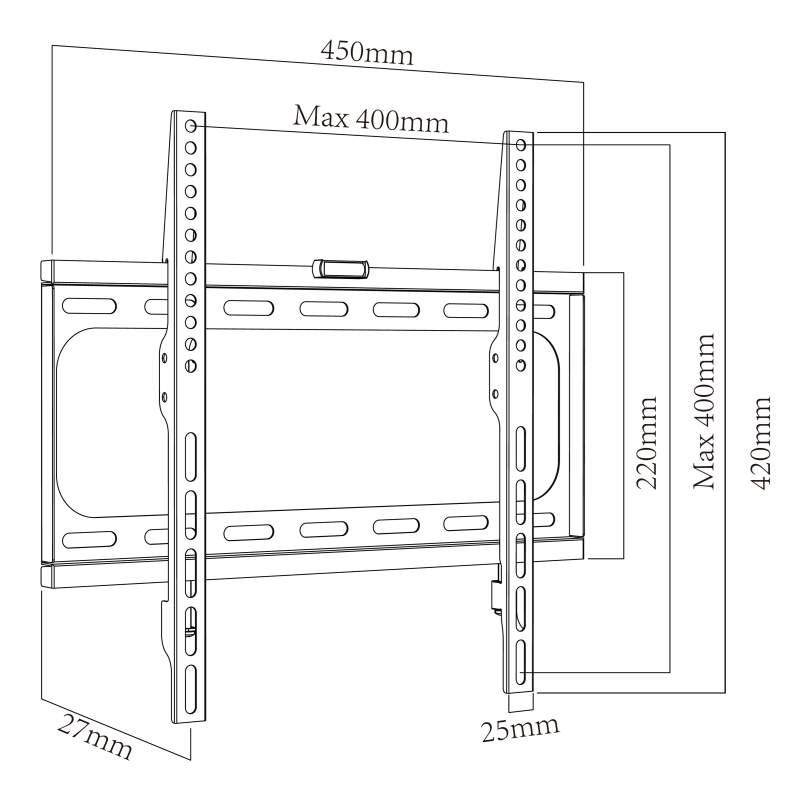 Levný fixní držák na televize s úhlopříčkou 26-55 palců - Ergosolid Arcen