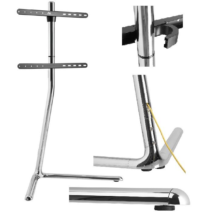 Moderní dizajnový televizní stojan v chromu, ideální do moderních prostor, obýváků, firem, kanceláří a reprezentativních prostorů - Fiber Mounts M8C68
