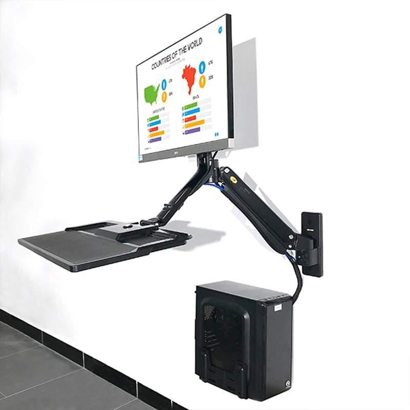 Držák na monitor nebo All in One Pc včetně poličky na klávesnici a myš, 3D polohování, profesionální, do kanceláře, výrobní haly, na stoje CNC a obráběcí, uchycení na svislou plochu nebo zeď - Mounts MC32B