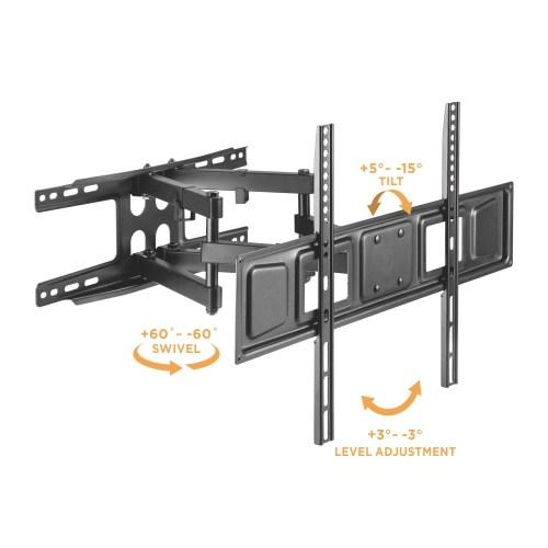 Držák na televizi, který vynikne opravdu solidní pevnou konstrukcí - otáčení Tv do stran, naklápění, vysouvání od zdi - Fiber Mounts Solid-2