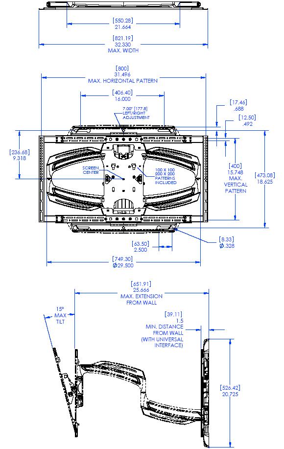 Profesionální otočný, sklopný, posuvný, délkově nastavitelný držák na Tv - CHIEF TS525T