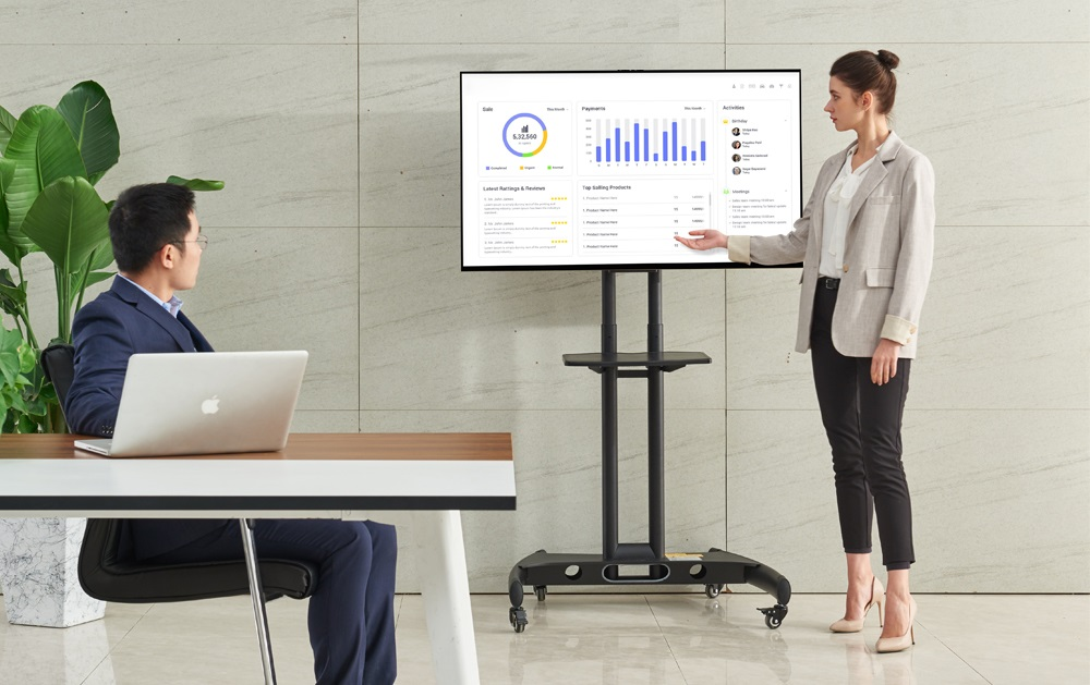 Televizní stojany na konference, přednášky, prezentace - snadné zavěšení LCD, LED, plazma, 3D, dotykových, OLED i prohnutých obrazovek s úhlopříčkou 32-65 palců, výškové nastavení, vedení kabeláže, barva černá nebo bílá - Fiber Mounts AVA1500