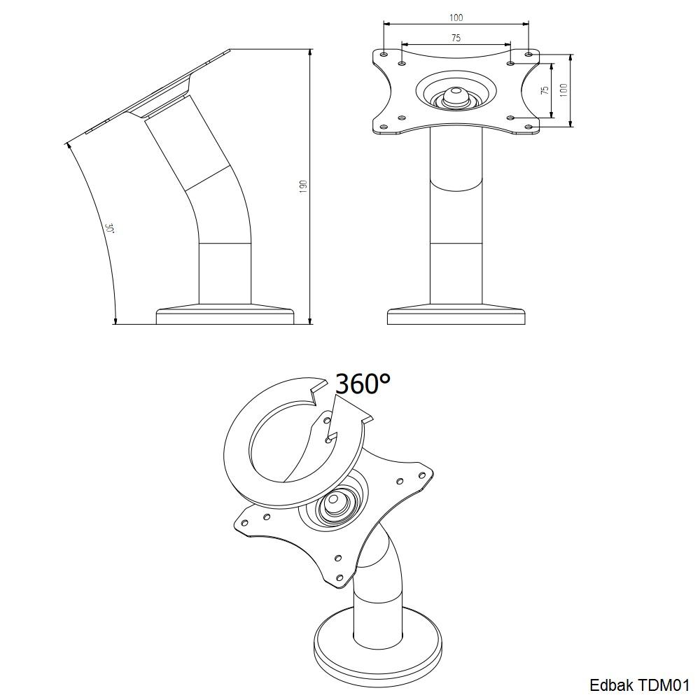 Profesionální celokovový stolní stojan na dotykové obrazovky, monitory, tablety a EET pokladny. Otočná hlava, náklon 30 stupňú, nosnost 3kg - EDBAK TDM01