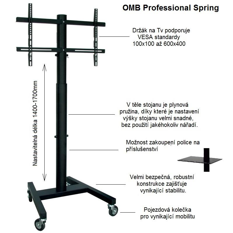 Televizní stojan s plynovou pružinou pro snadné a rychlé nastavení výšky v rozmezí 140 až 170cm, nosnost 40kg, VESA standard 100x100 až 600x400 - OMB Professional Spring
