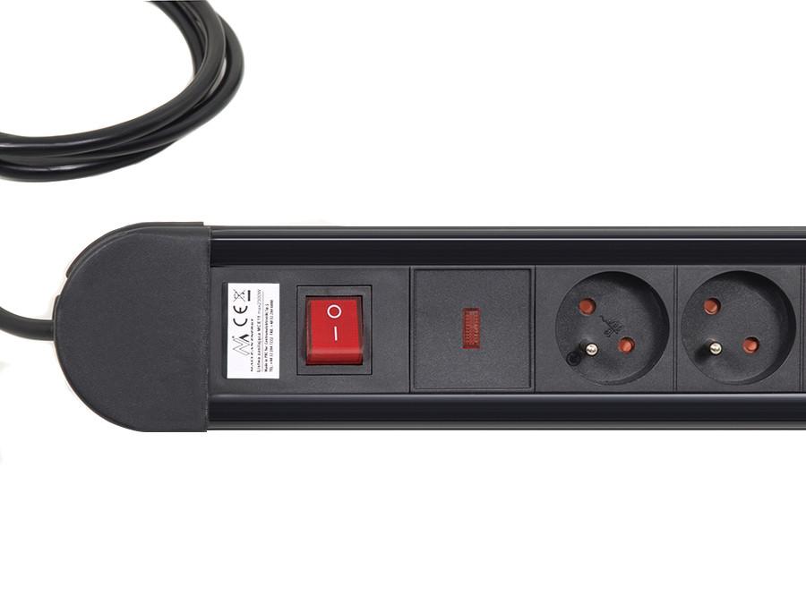 Přepěťová ochrana 8 zásuvek 2300W délka kabelu 150cm Fiber Mounts FM11