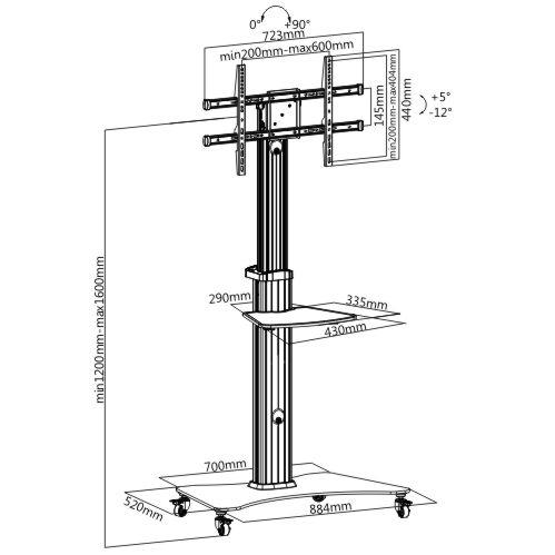 Tv stojan Fiber Novelty FN3000 - designový televizní stojan na Tv 37-70 palců, výškové nastavení, funkce pivot, unikátní design.