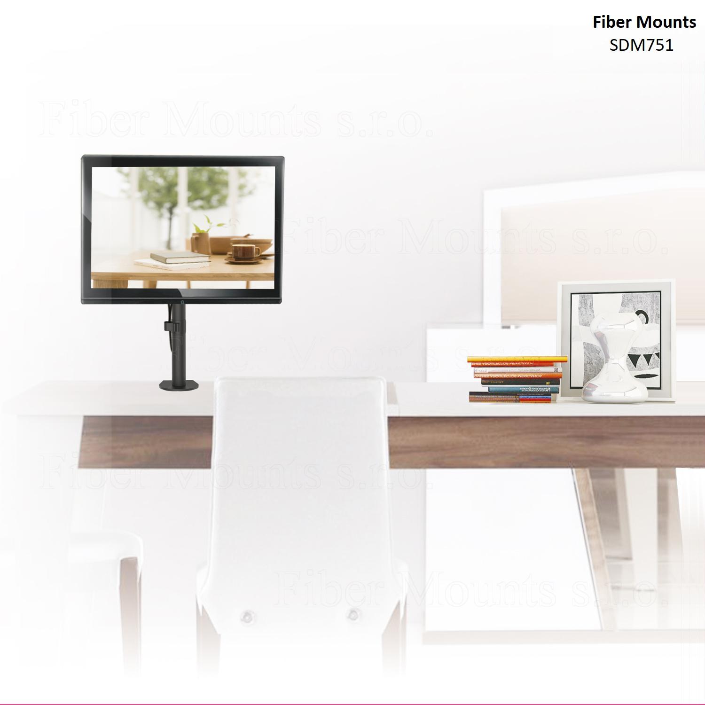 Levný držák na monitor, televizor, tablet nebo EET pokladnu s úhlopříčkou 13-32 palců, VESA standard, otočný, sklopný, výškové nastavení, 2 typy ukotvení - Fiber Mounts SDM751 / drzakyastolky.cz