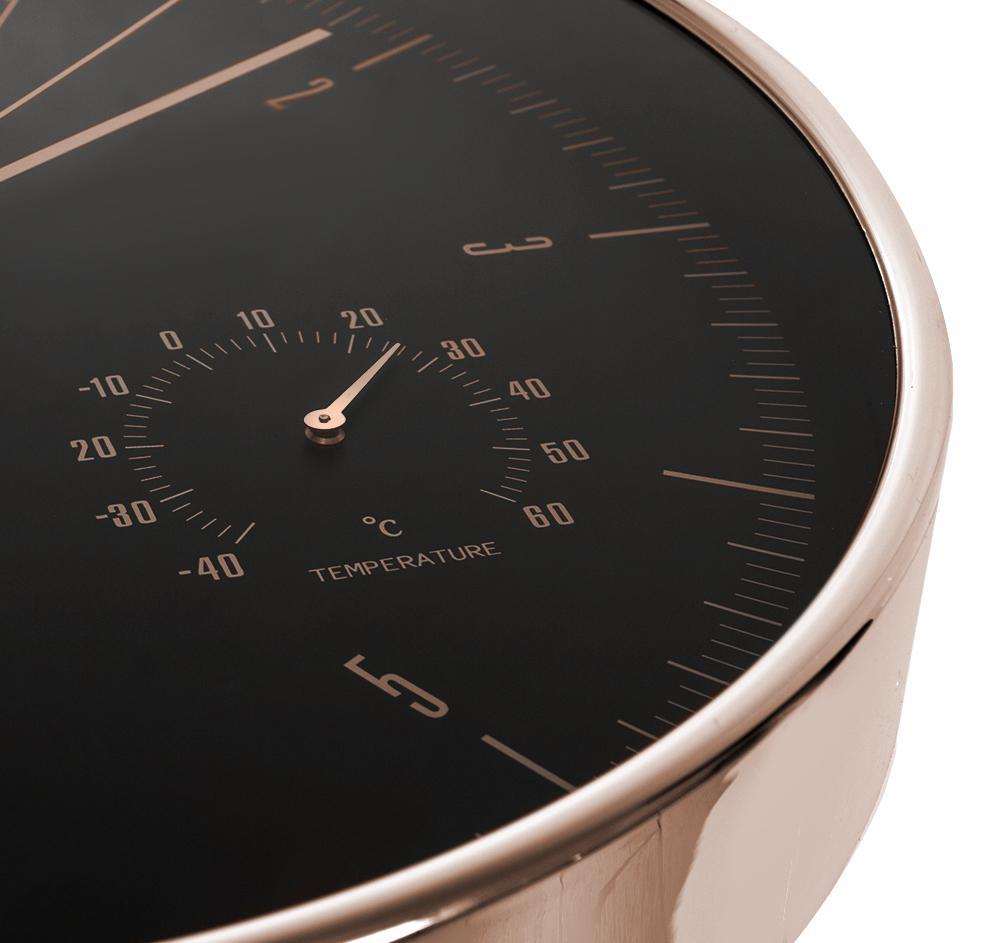 Designové hodiny s tichým chodem - netikající, neslyšitelné, průměr 30cm, s teploměrem a vlhkoměrem, hliníkové - Fiber Mounts CE70G