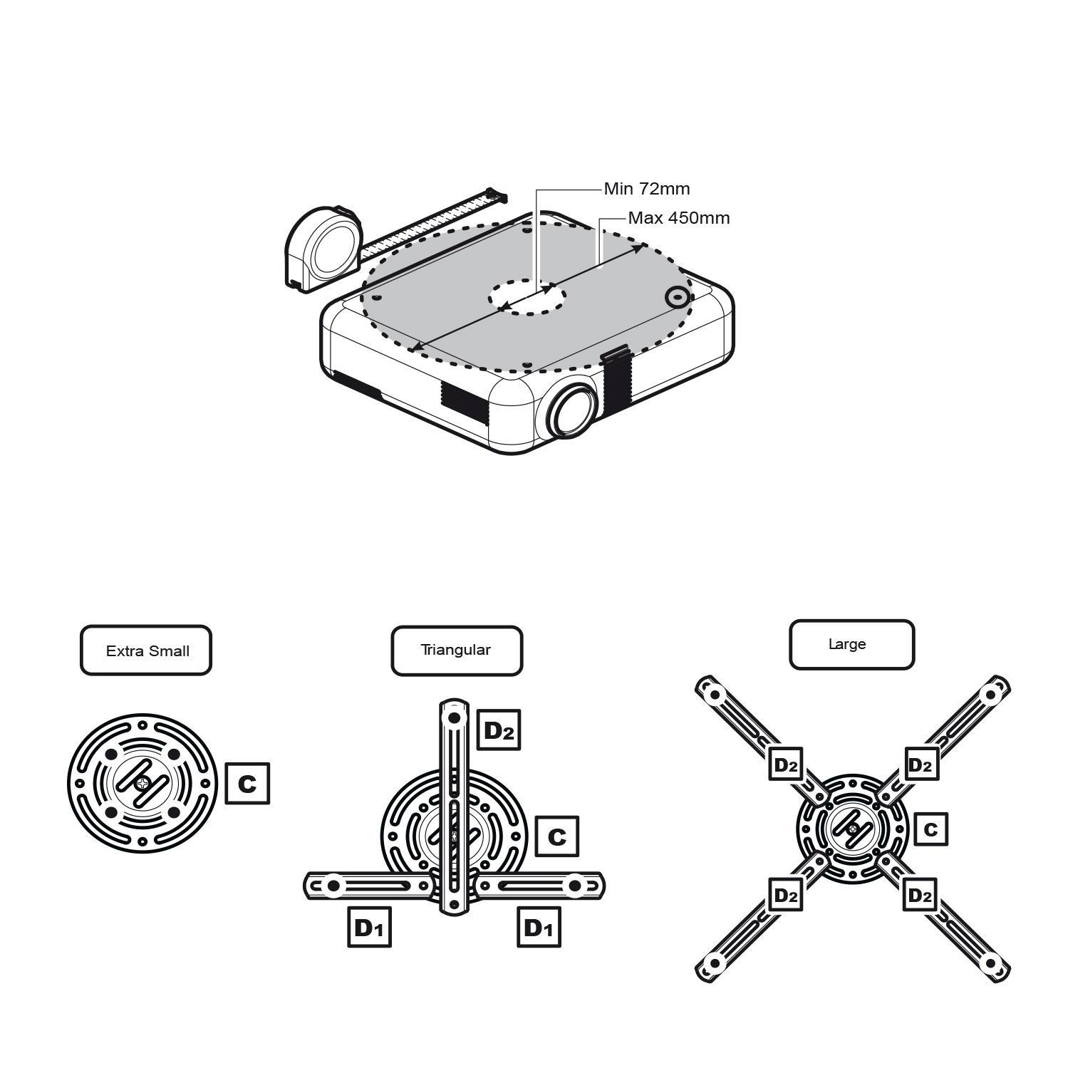 Fiber Mounts AX780 - kvalitní přesto jeden z nejlevnějších stropních držáků na projektory a dataprojektory, nastavení polohy, nosnost 13,6kg