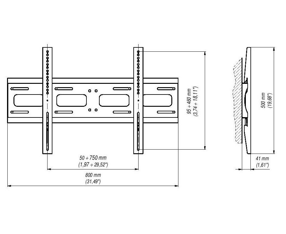 Rozměry profesionálního fixního držáku na Tv a monitory EDBAK PWB1