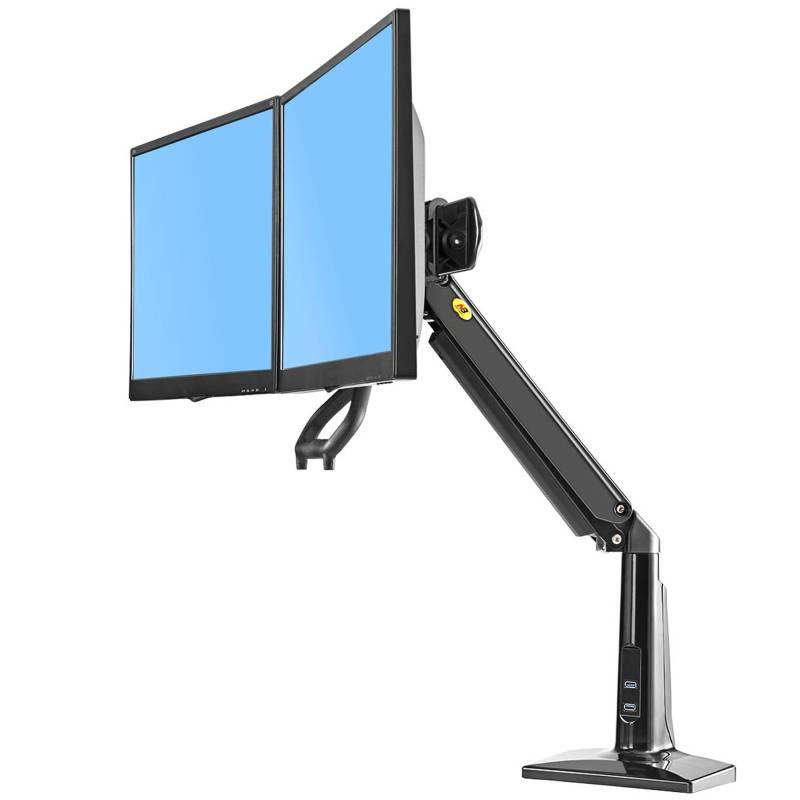 Profesionální držák na dva monitory, uchycení vedle sebe do roviny nebo paraboly, instalace na stůl nebo vodorovnou plochu, na 2 monitory 19-27 palců, plně polohovatelný - Mounts F27B