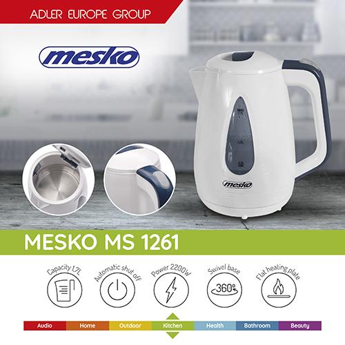 Rychlovarná konvice Mesko MS1261, 1,7 litru, 2200W, nerezové dno, kvalitní, zdravotně nezávadná, pěkná a levná